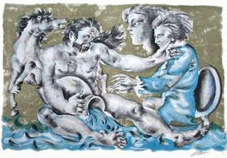 Dames des Décans - Verseau et Portrait de Mozart by Hans Erni