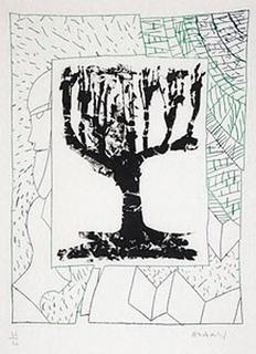 Arbre central, au vert by Pierre Alechinsky