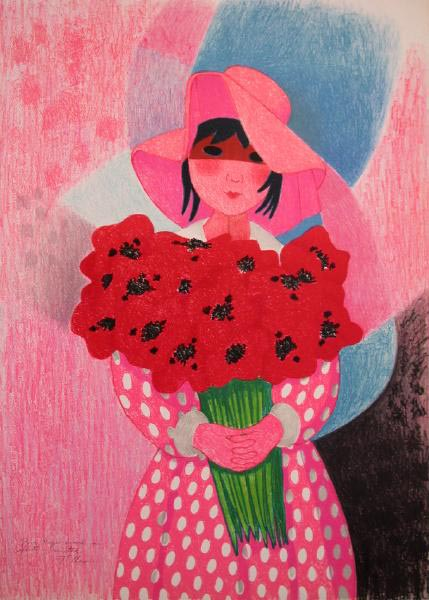 Girl with Flowers by Trinidad Osorio
