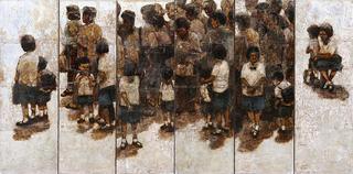 Waiting - On a Bangkok Street (2 panels) by Therdkiat Wangwatcharakul