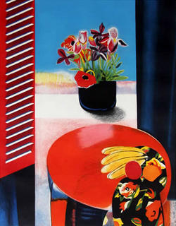 Irises, Poppies and Fruit by Walter Bachinski