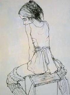 Danseuse Assise de dos au Tabouret by Jean Jansem