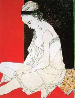 Sylvie Fond Rouge by Jean Jansem