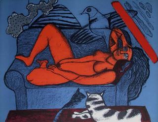 Femme au Divan Bleu by Corneille