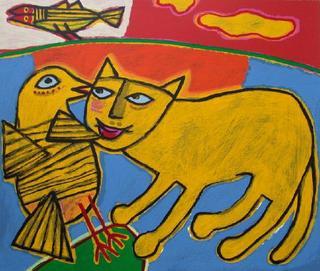 Jeux entre Chat et Oiseau by Corneille