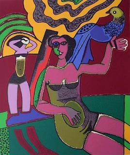 La Femme et l'oiseau Bleu by Corneille