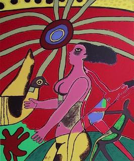 La Femme et l'oiseau Jaune by Corneille