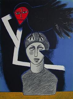Le Peintre et l'oiseau II by Corneille