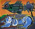 Le Grand Chat Bleu et l'oiseau by Corneille