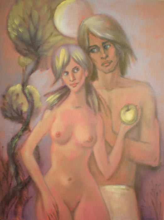 Adam and Eve Under the Moonlight by Irina Privedentseva