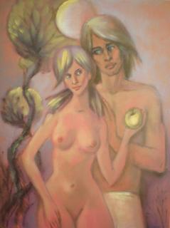 Adam and Eve Under the Moonlight by Irina Privedentseva