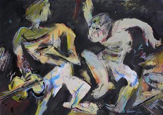 Figure Sullo Sfondo Nero by Manlio Rondoni