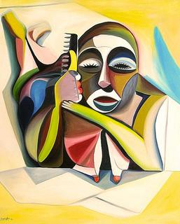 Woman Combing in the Beach by Raúl Cañestro
