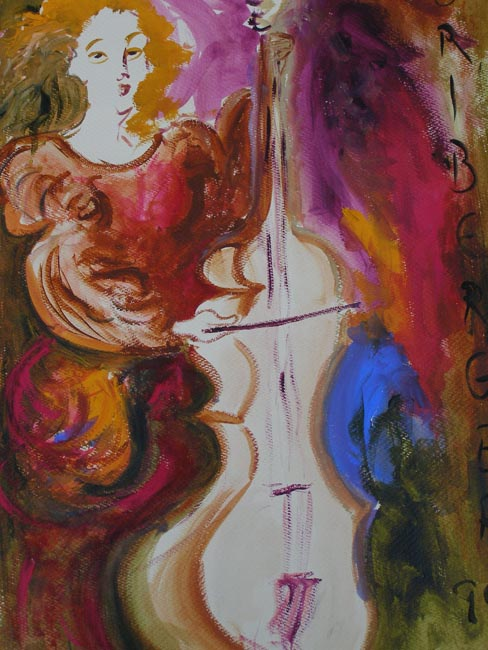 Lady Playing The Cello Original Art By Uri Berger