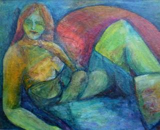 Vrouw in kleur by Renate van Nijen