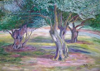 Three Olive Trees by Moti Lorber