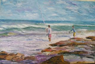 Fishermen on the Beach by Moti Lorber