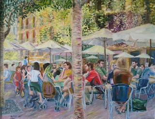 Outside Cafe in Madrid by Moti Lorber