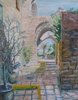 Narrow Passageway in the Old Jaffa by Moti Lorber
