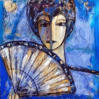 Lady with Fan by Soledad Fernández