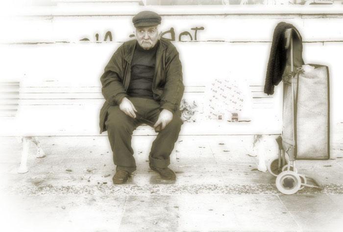 Old Beggar Sit by Jose Luis Mendez Fernandez