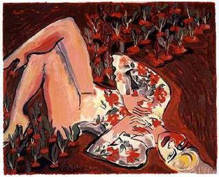 Nude / Radish Field by Elvira Bach