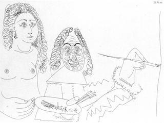 Peintre Rembranesque avec son modele by Pablo Picasso