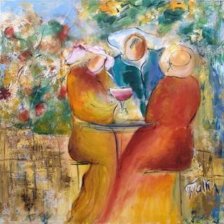 In a Garden with Glass of Wine by Malka Tsentsiper