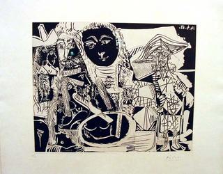 Arlequín et personajes diverses, Mougins, 1533 by Pablo Picasso