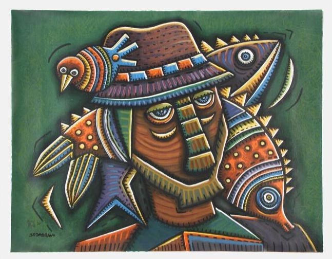 Old Fisherman Original Art by Alfredo Sosabravo :: PicassoMioPicasso The Old Fisherman