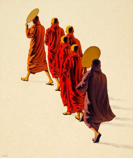 Shy Monks by Min Wae Aung