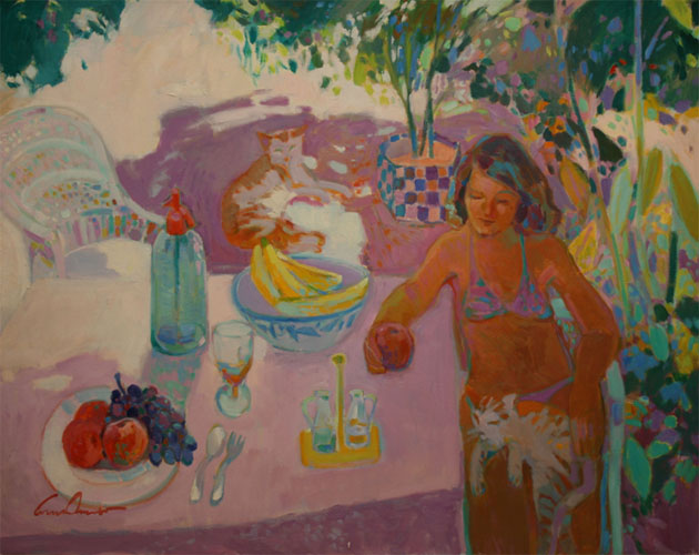Still life with Woman and Cats by Luis Amer