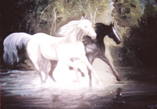 Horses Troting in the Forest by Horacio Gurdiel
