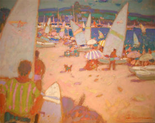 Beach with Sailboats by Isidro Vilaseca