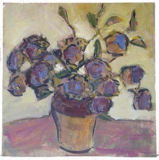 Vase with Artichoke Flowers by María Mora Ramirez