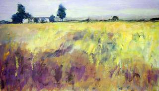 House with Wheat Field by María Mora Ramirez