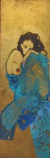 Crouched Blue Figure by Natividad Jiménez
