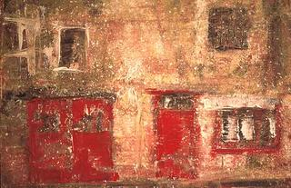 Bath Garage Window Red II by Kim Thrower