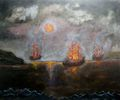 Ships burning after the battle. by Fernando Gomila