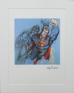 Superman Andy Warhol lithograph signed numbered by Andy Warhol
