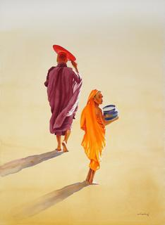 Monk and Novice 5 by Min Wae Aung