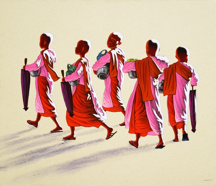 Nuns on the Morning Round by Min Wae Aung
