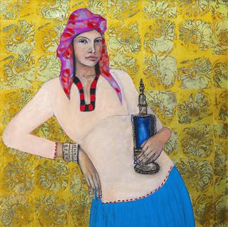 The Lady from Marrakesh with perfume bottle by Susan-Jayne Hocking