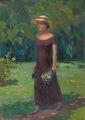 A lady in straw hat by Vasiliy Strigin